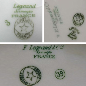 Le logo au dos de la porcelaine de table