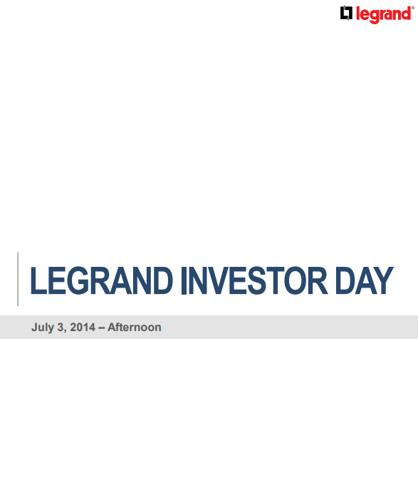Legrand investor day - afternoon 2014